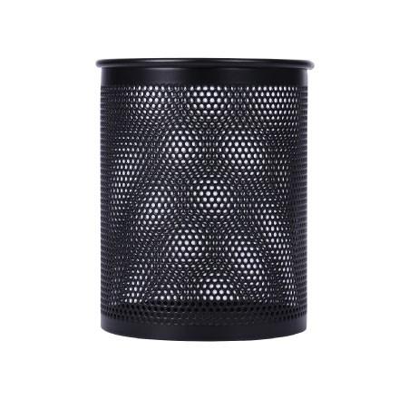 得力(deli)909 金属网纹圆形笔筒 黑色