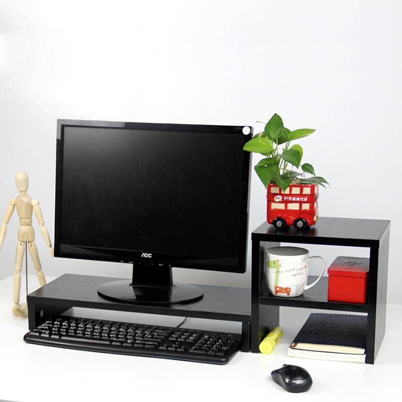 倍方电脑显示器桌 屏幕增高架键盘收纳架置物架 黑木纹单层+置物柜