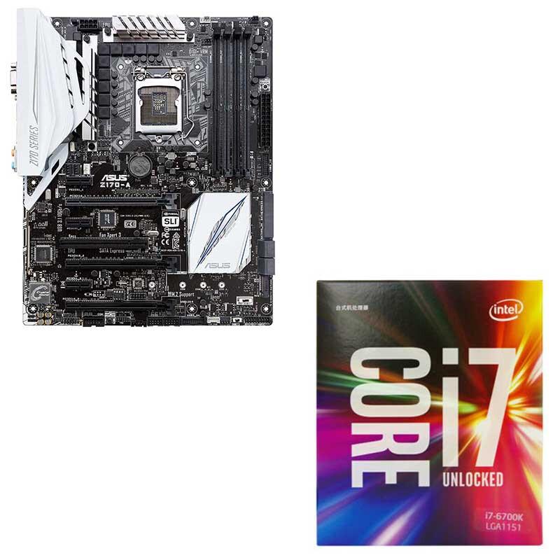 华硕(ASUS)Z170-A 主板 + 英特尔(Intel)酷睿 i7-6700k 盒装CPU处理器