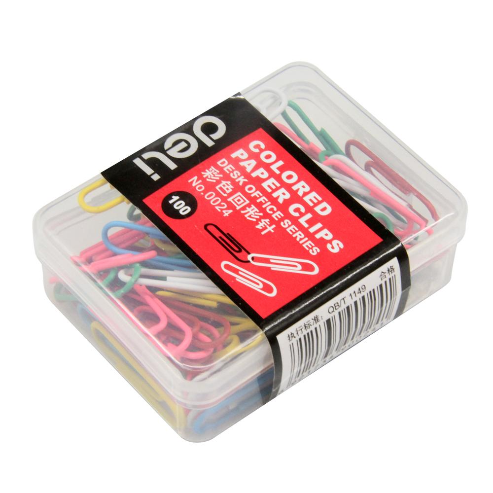 得力(deli)0024 彩色回形针 多色混合 单盒装