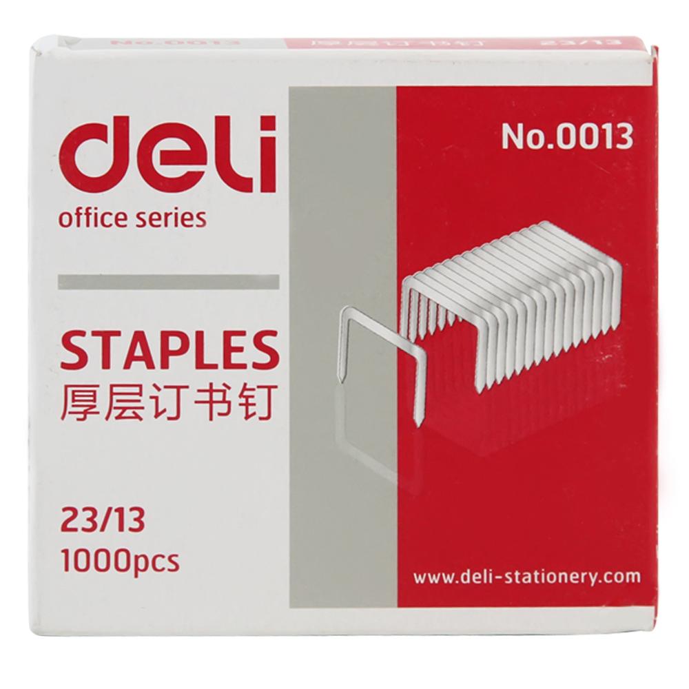 得力(deli) 0013 钉书针 厚层订书针 23/13 可订90页 1000枚 单盒装