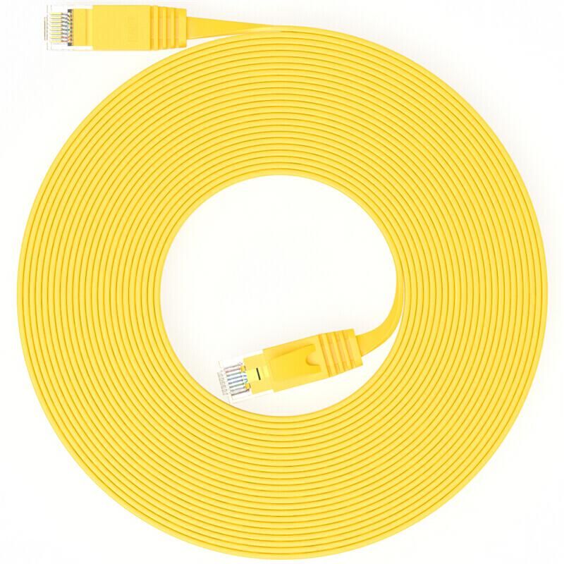 山泽(SAMZHE)SZ-601YL 六类CAT6类千兆扁平网线 电脑网络跳线 成品网线 黄色1米