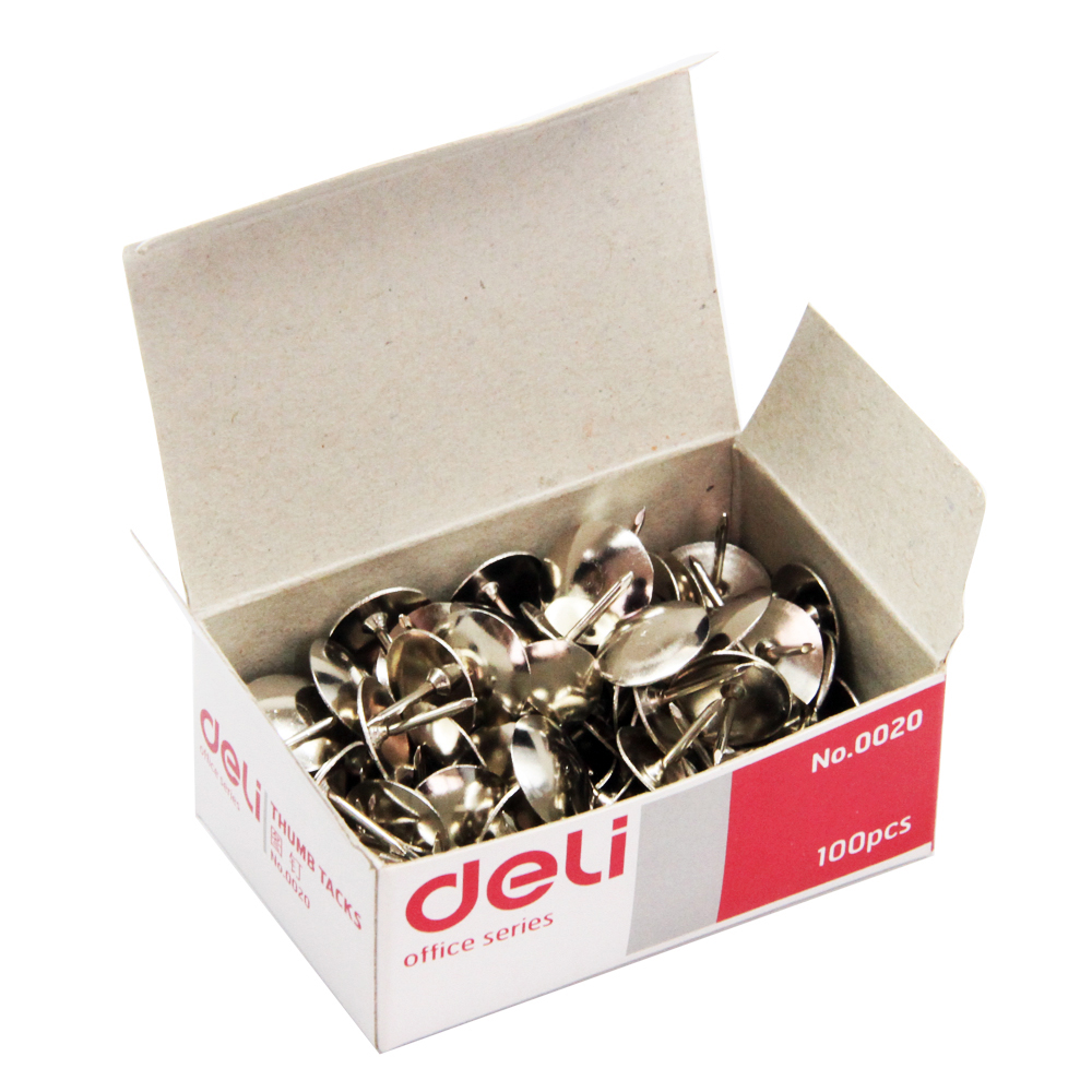 得力(deli)0020 镀镍图钉 100枚/盒