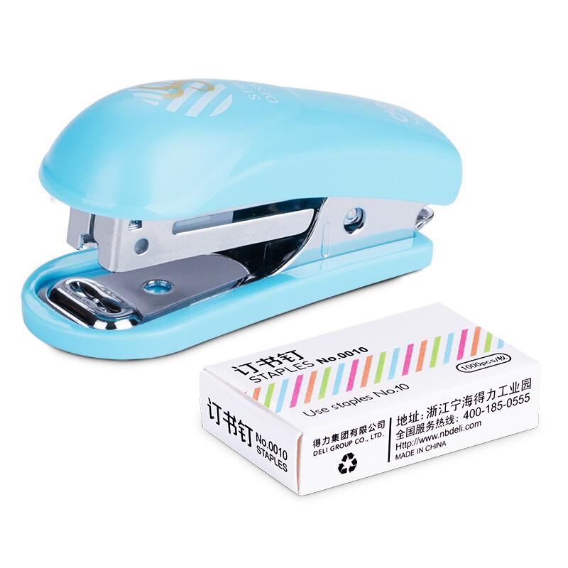 得力(deli)0253 迷你型套装订书机10# 颜色随机