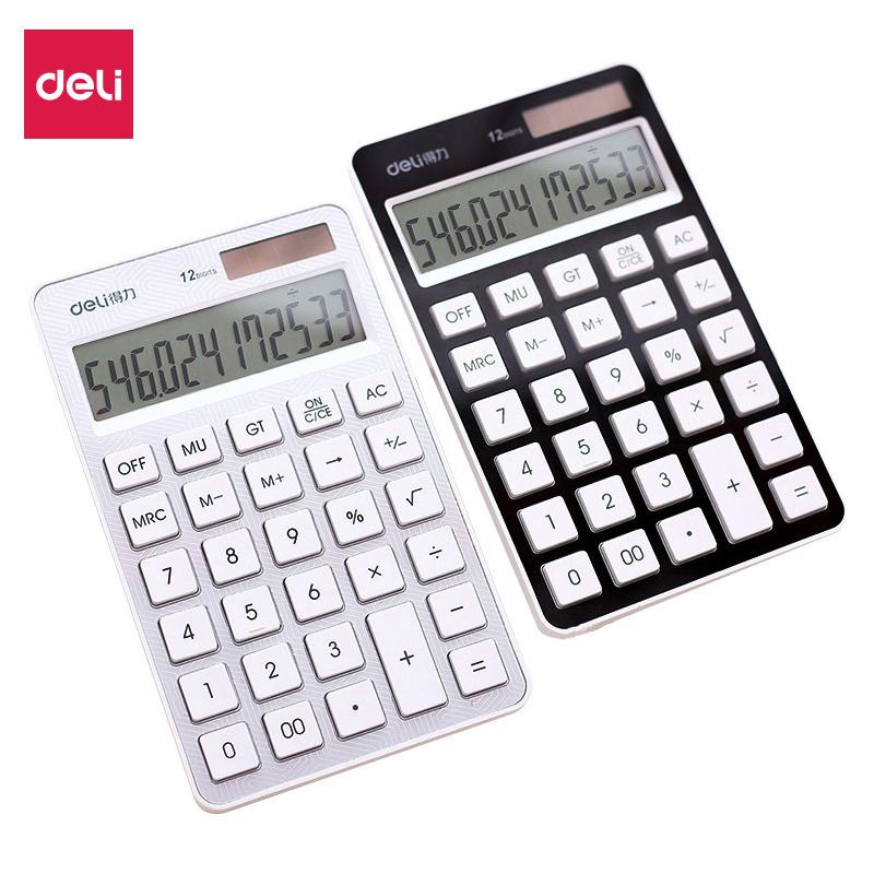 得力(deli)1576A平板计算器 科技感纹理太阳能计算器 12位数显示