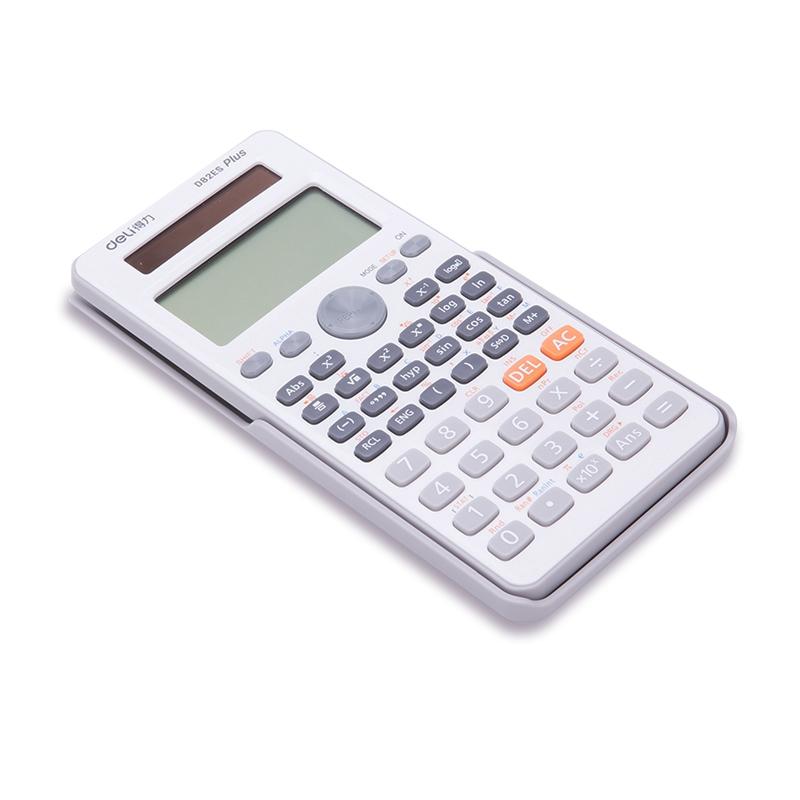 得力(deli)D82ES双电源函数计算器 保护盖 学生专用计算机 252种功能 适用小学到大学教程(白)