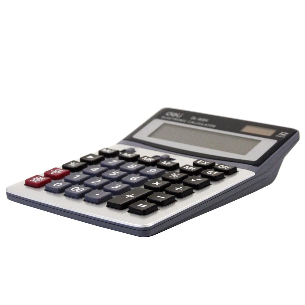 得力(deli)1654双电源宽屏办公桌面计算器 财务计算机 银灰色1654