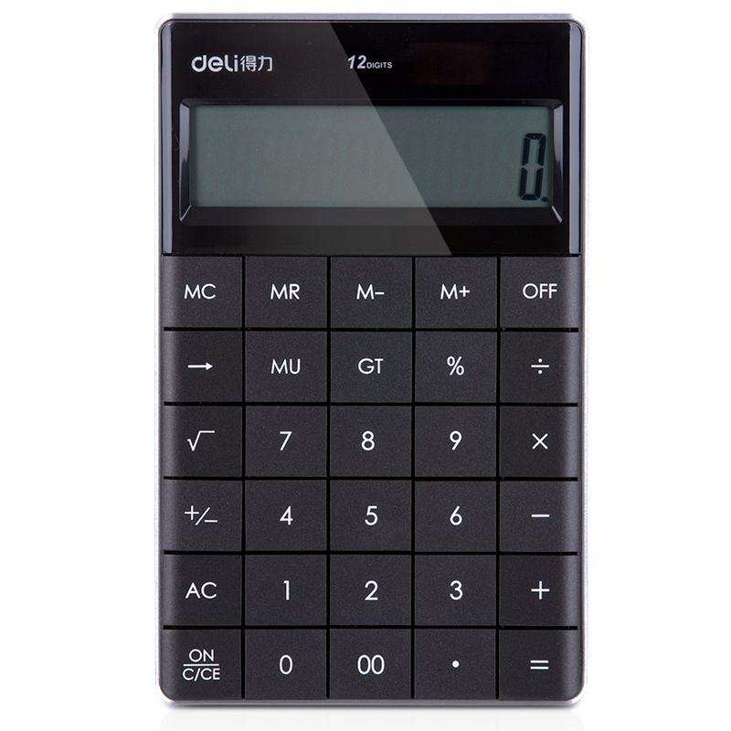 得力(deli)1589p 太阳能便携平板计算器学生用12位数大按键办公计算机 黑色