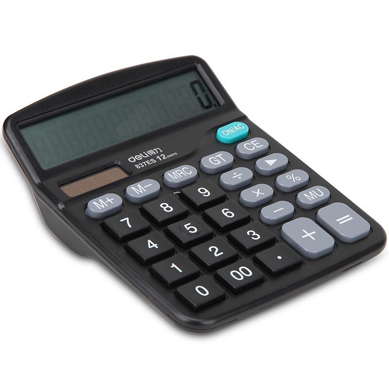 得力(deli)837ES 桌面通用办公计算器 12位大屏幕 双电源