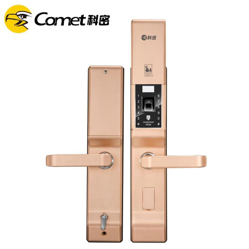 科密K2家用防盗智能指纹密码刷卡电子手机感应3D半导体指纹锁  红古铜