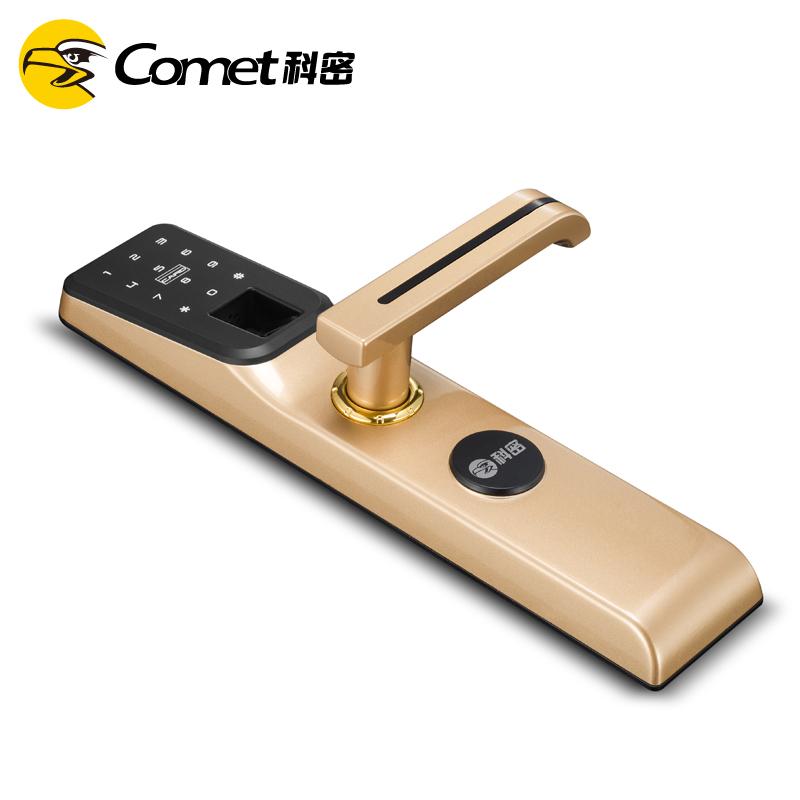 科密A2家用防盗智能指纹密码刷卡电子手机感应虚位密码指纹锁  土豪金
