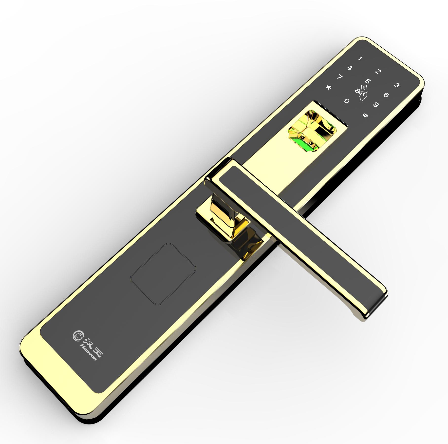 汉王GL-3021指纹锁家用防盗门智能密码门锁  红古铜