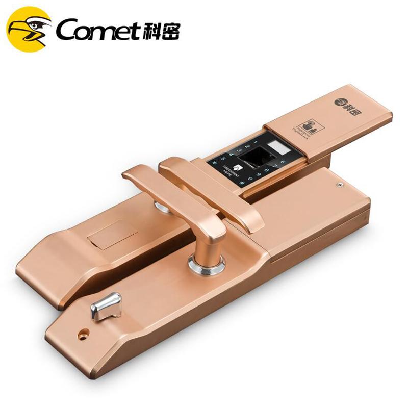 科密K2家用防盗智能指纹密码刷卡电子手机感应3D半导体指纹锁  太空银
