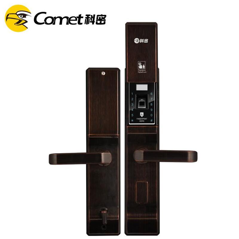 科密K2家用防盗智能指纹密码刷卡电子手机感应3D半导体指纹锁  咖古铜