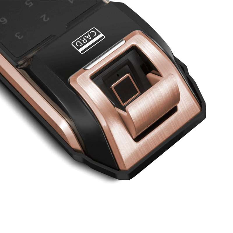 科密S2 指纹锁家用防盗门密码锁智能电子锁刷卡手机感应指纹 红古铜