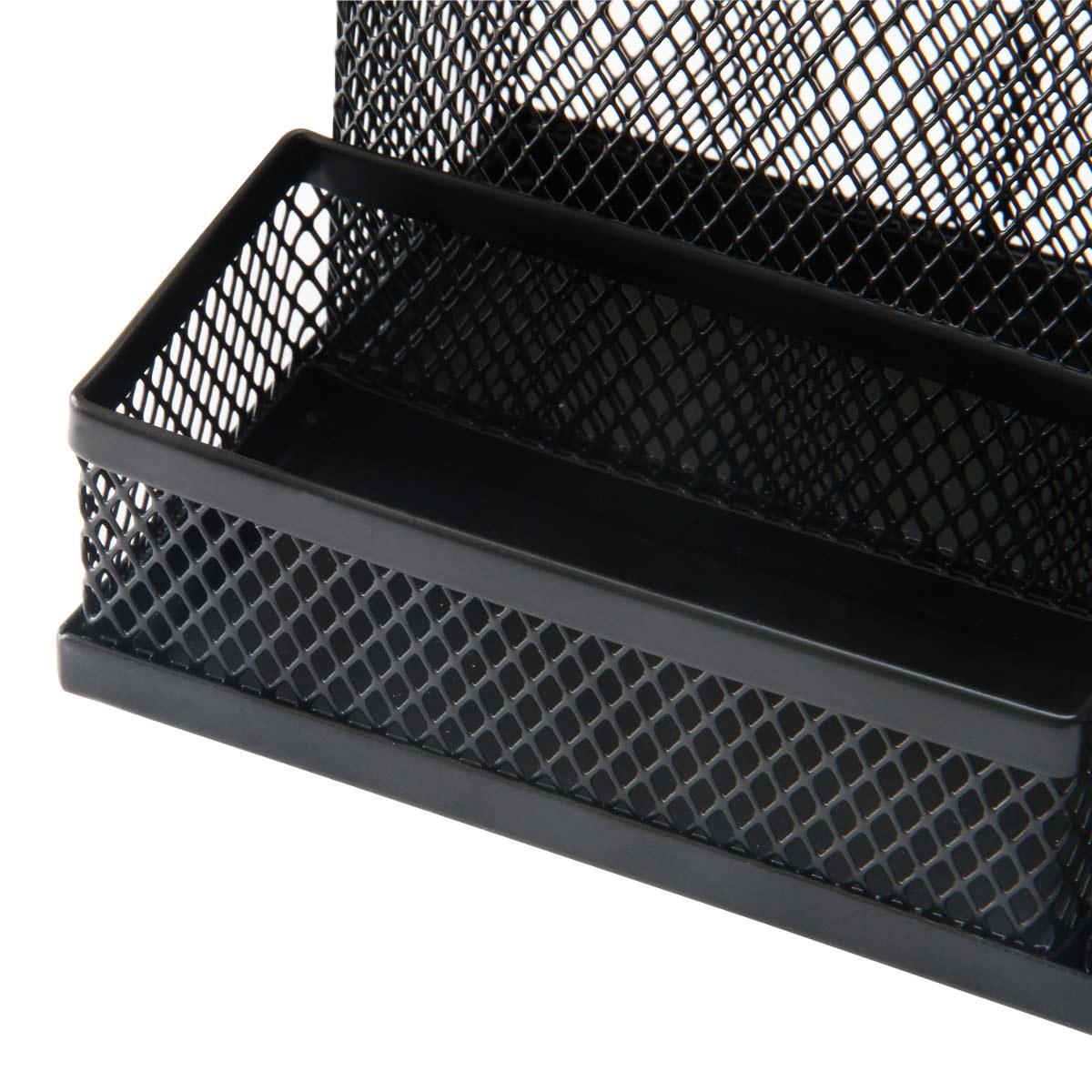 得力(deli)9175 金属网纹多功能办公笔筒 黑色