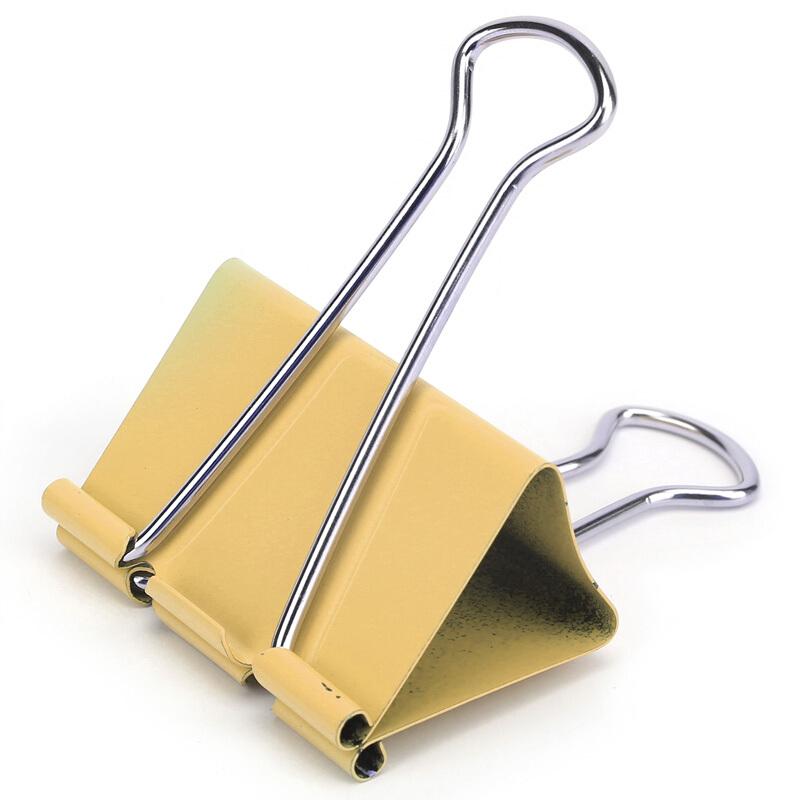 得力(deli)8551 12只50mm彩色长尾票夹 金属票据夹燕尾夹 大号