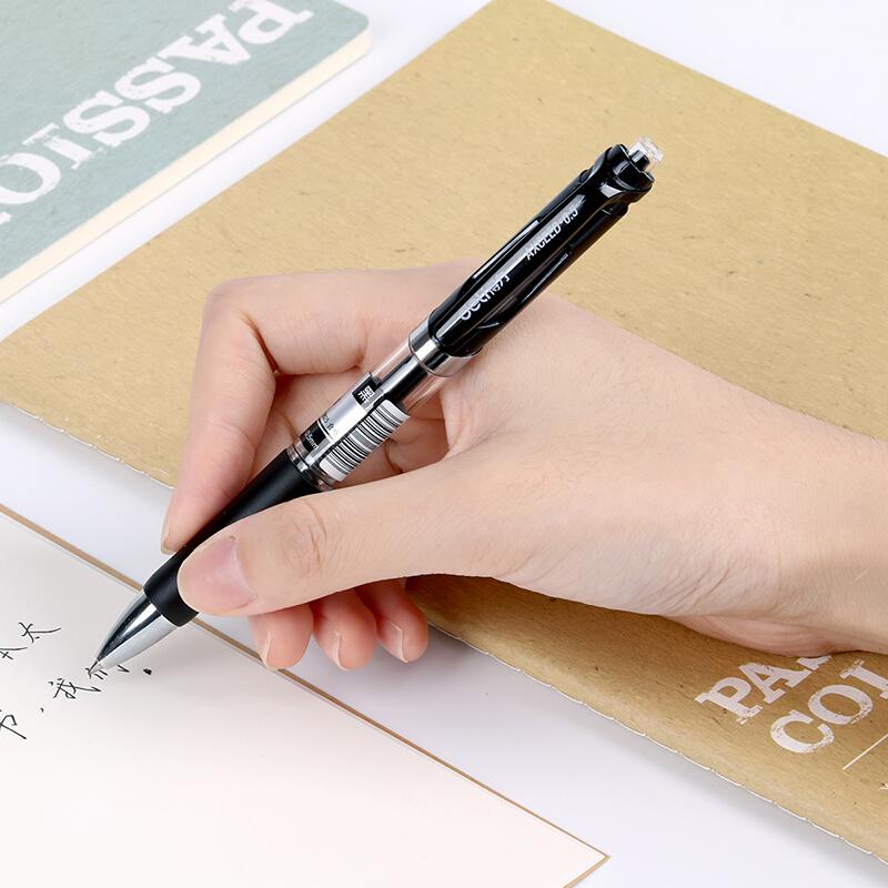得力(deli)S01 黑色0.5mm经典办公按动中性笔水笔 子弹头签字笔 12支/盒