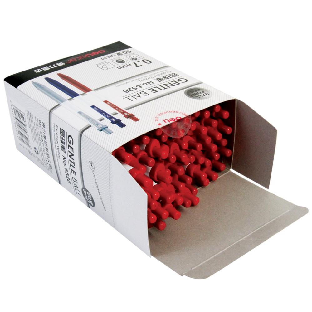 得力(deli)6526 红色揿动圆珠笔 60支装