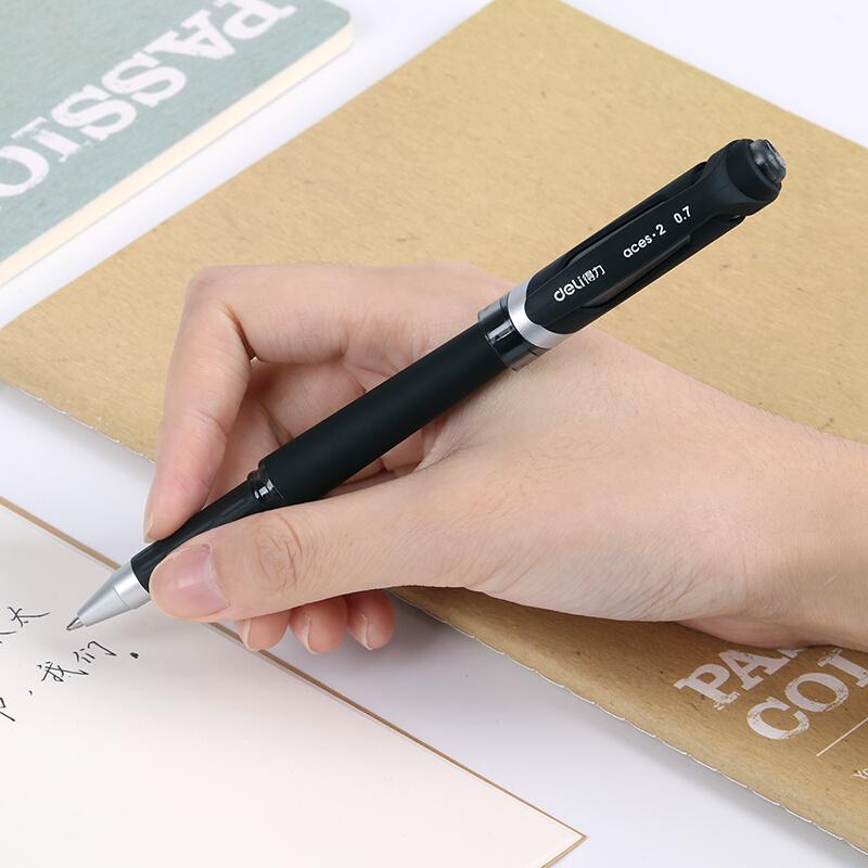 得力(deli)S21 0.7mm磨砂笔杆黑色中性笔水笔签字笔 12支/盒