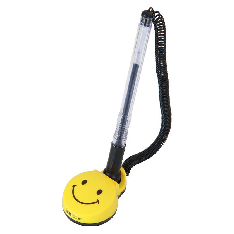 得力(deli)6793 0.5mm黑色微笑台笔 台式中性笔 1支