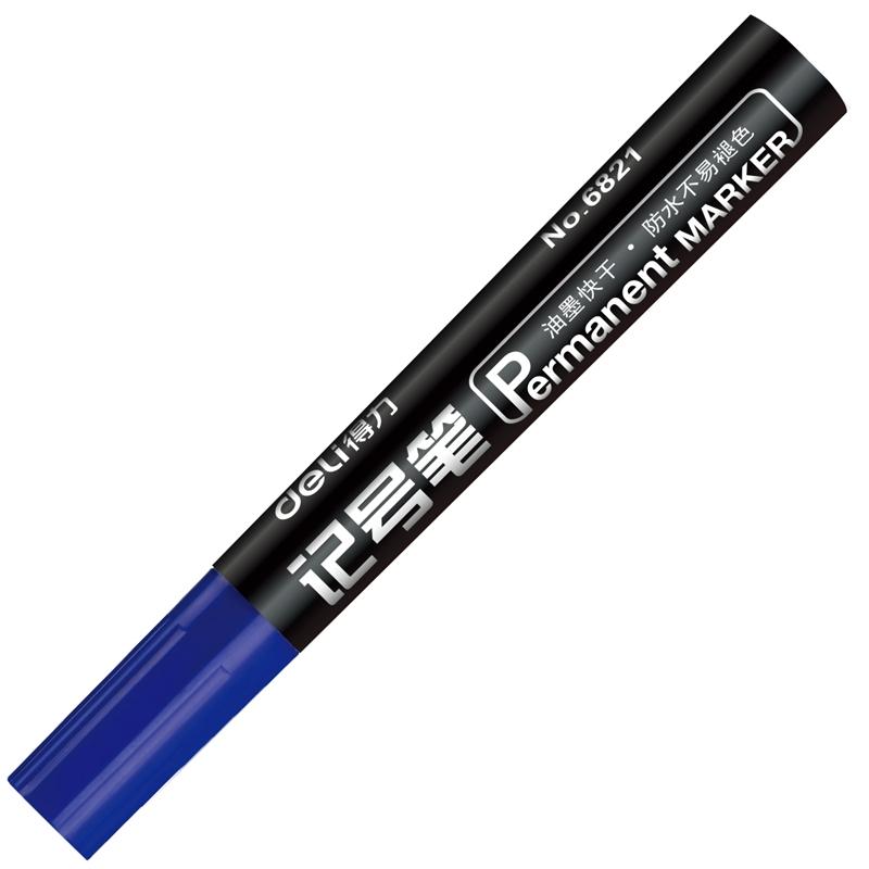 得力(deli)6821粗头物流油性记号笔大头笔 蓝色 10支/盒