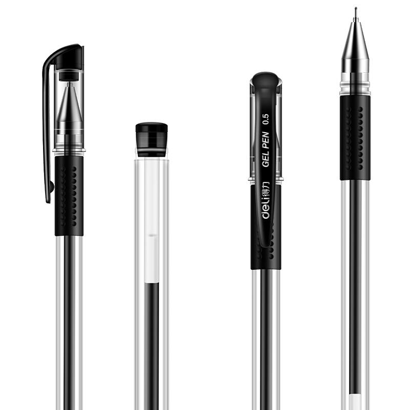 得力(deli)6601 0.5mm半针管黑色中性笔水笔签字笔 12支/盒