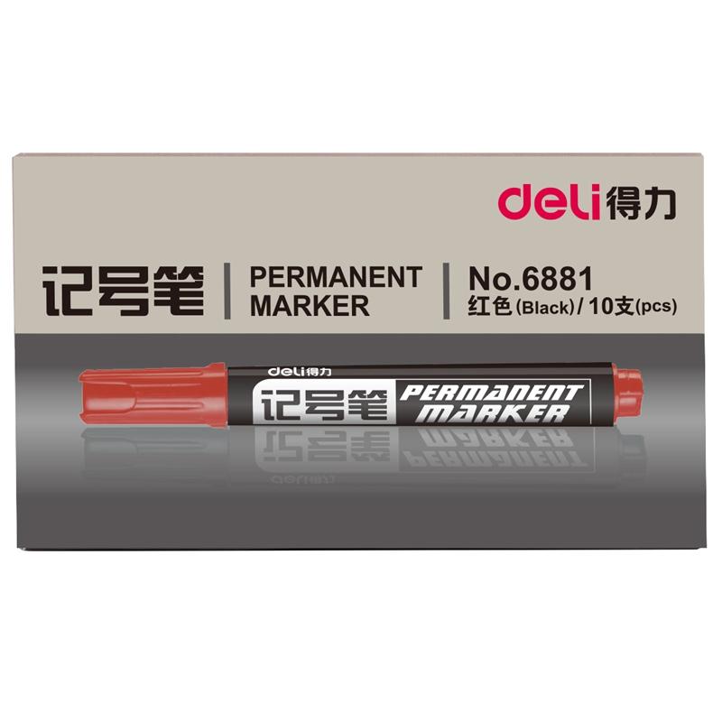 得力(deli)6881油性记号笔光盘笔大头物流标记笔 红色10支/盒