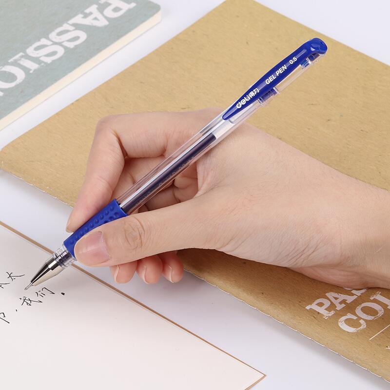 得力(deli)6601 0.5mm蓝色半针管中性笔 办公水笔签字笔 12支/盒