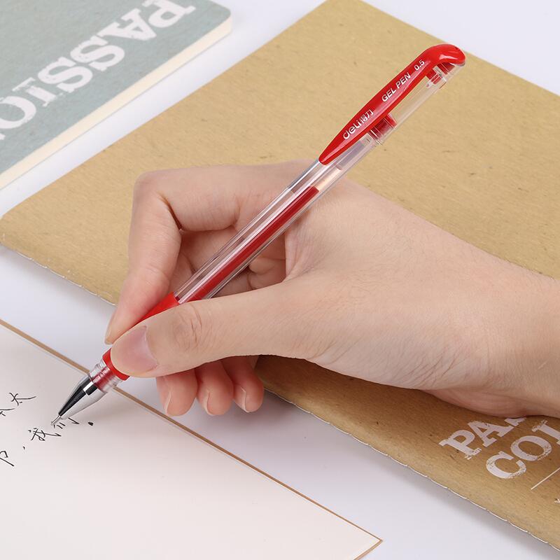 得力(deli)6601 0.5mm半针管红色中性笔水笔签字笔 12支/盒