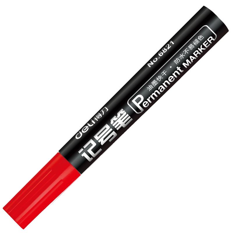 得力(deli)6821粗头物流油性记号笔大头笔 红色 10支/盒6821