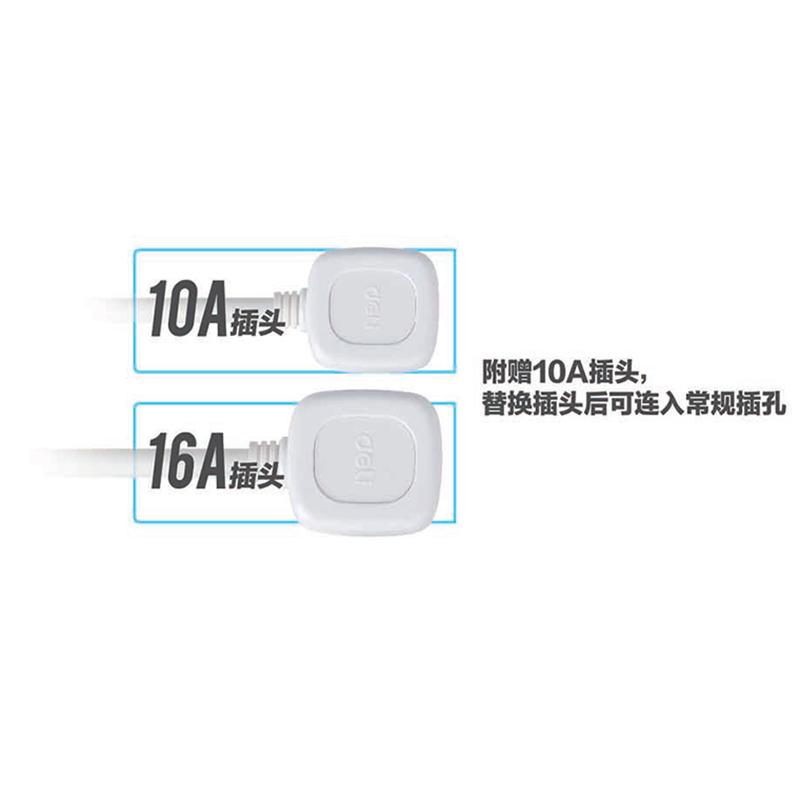 得力(deli)18265 电源插座 拖线板2m单排2孔空调插座 16A 送备用插头 白色
