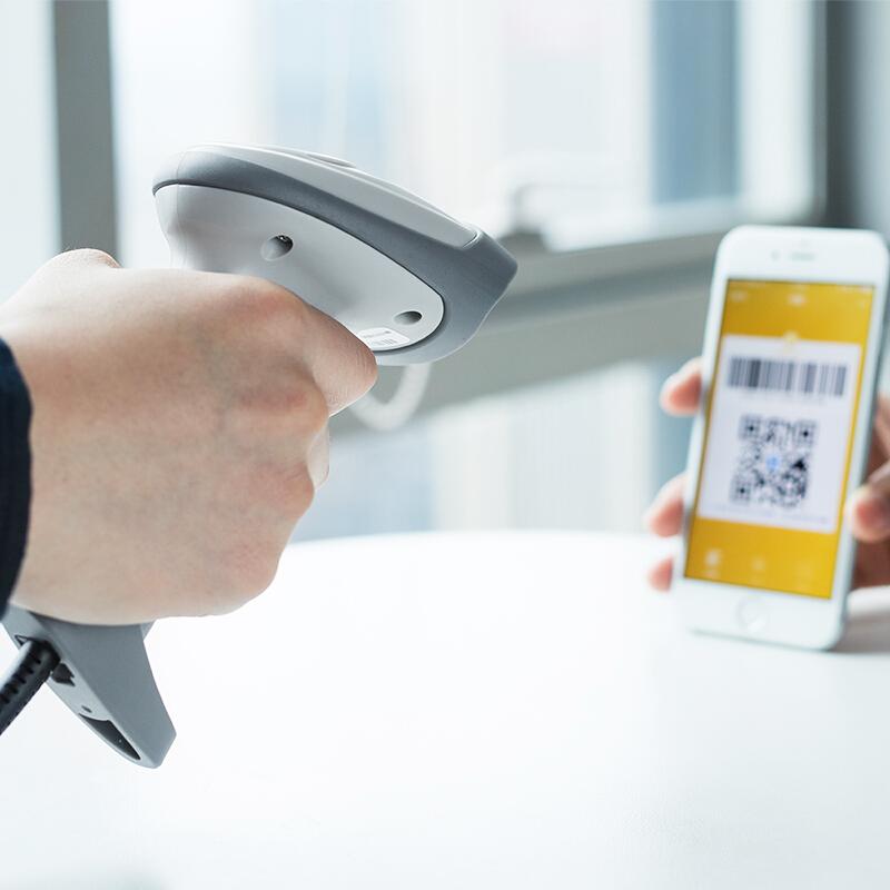 得力(deli)14883 有线一二维码扫描枪手机支付扫码枪 条码枪(白色)