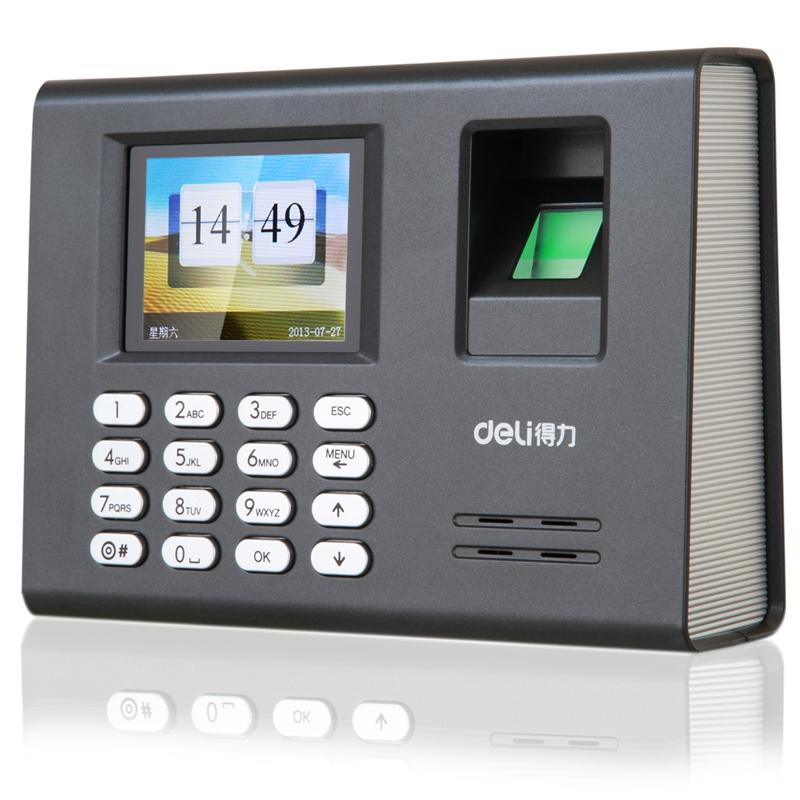 得力(deli) 3946 智能指纹考勤机免软件免安装 彩屏打卡机