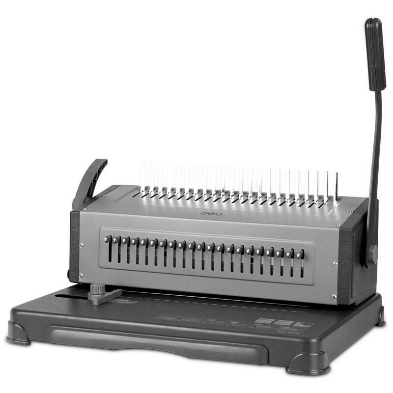 得力(deli)3874 省力型胶圈/夹条装订机 21孔可调文件打孔机