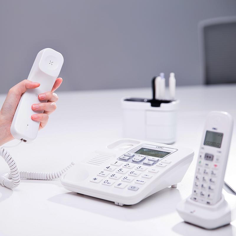 得力(deli)791大屏幕数字电话子母机 超距离子机报警办公家用固定电话 来电显示无绳电话 停电座机可用(素雅白)