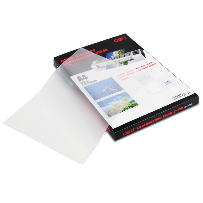 得力(deli)3817标准优质护卡塑封膜照片相片塑封膜100张/包