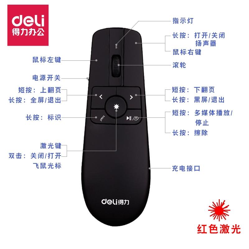 得力(deli)2803 空中飞鼠 可充电翻页笔/PPT翻页笔/激光翻页笔/无线演示器 红光