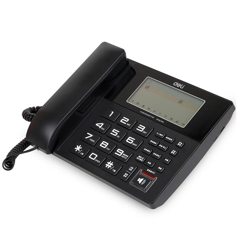 得力(deli) 录音电话机 座机 固定电话799 欧式办公录音固话录音座机 黑色