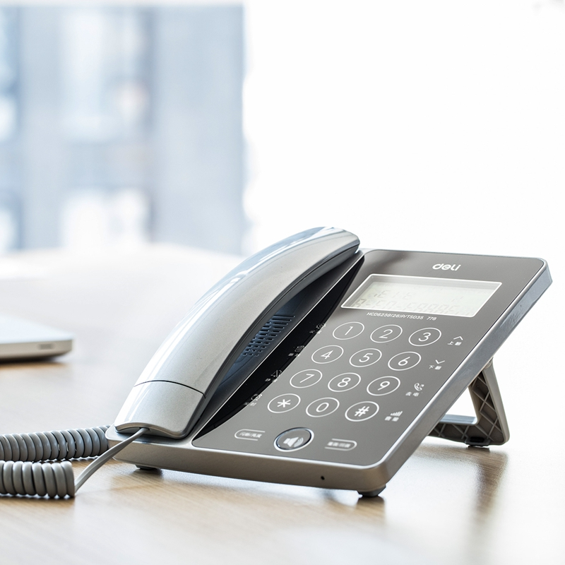 得力(deli) 778 触屏固定电话机坐机家用办公座机座式单机来电显示免电池 太空银