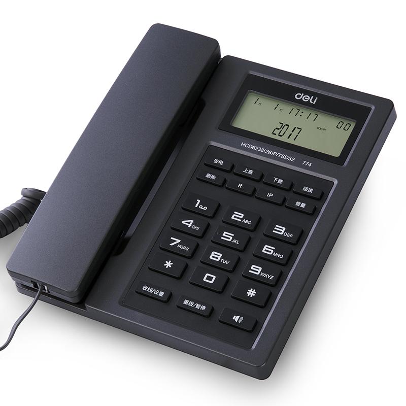 得力(deli) 774免提通话电话机/座机 免电池来电显示家用/办公固定电话(金属灰)