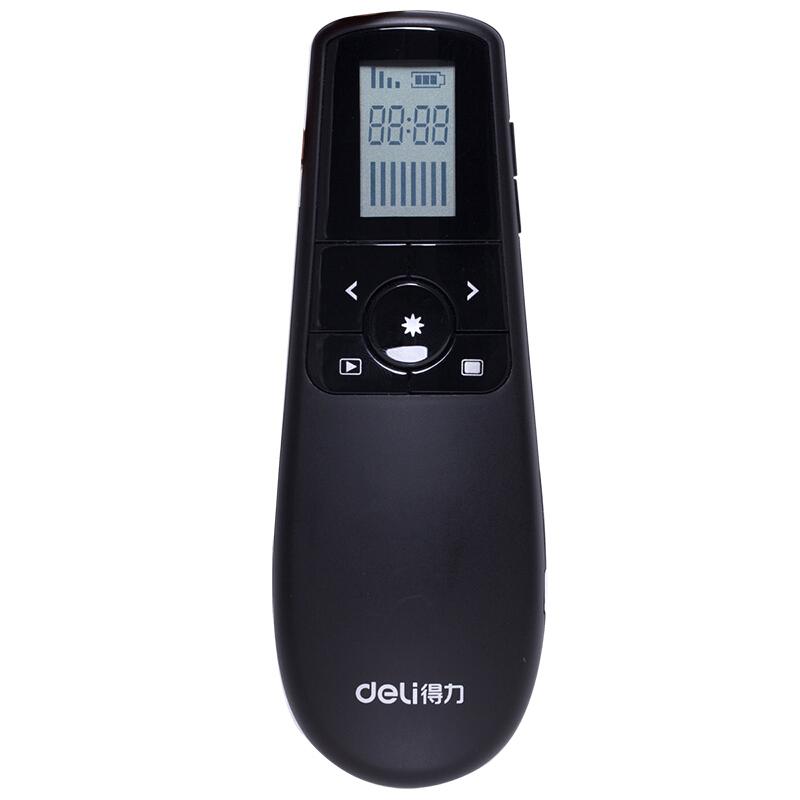 得力(deli) 2804 带显示屏激光笔/PPT翻页笔 可充电锂电池 带计时提醒 绿光款