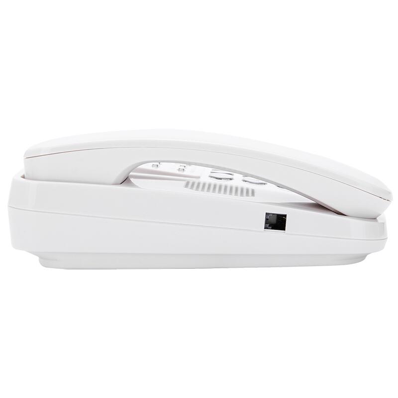 得力(deli) 780 透明耐磨按键电话机 免提来电显示办公家用固定电话 三组闹钟座机(白色)