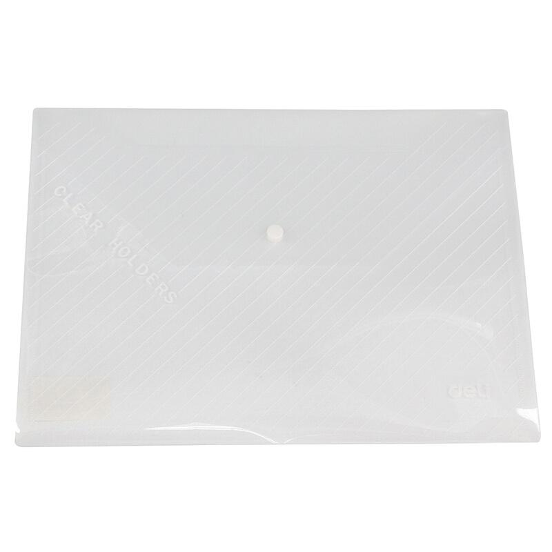 得力(deli)5501文件袋 档案袋/资料袋防水透明按扣绕绳 10只装 蓝色按扣 5501-10个装