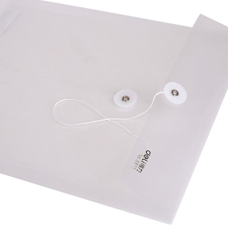 得力(deli)DELI 5511透明缠绳文件袋 档案袋 资料袋 白色 12个/袋