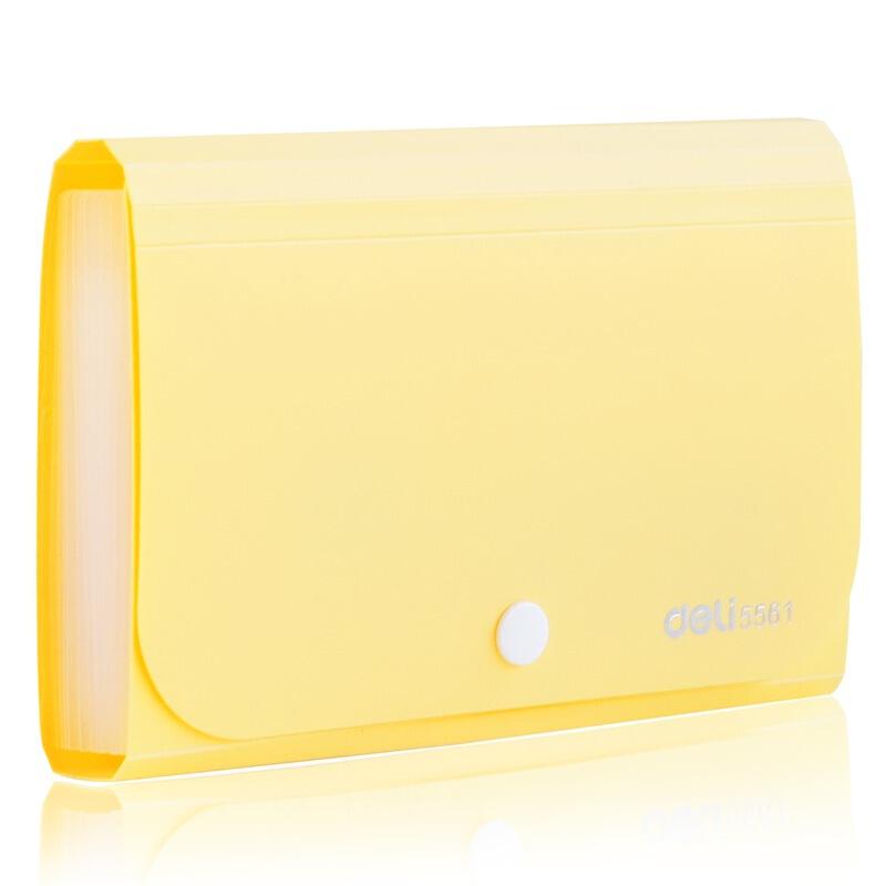 得力(deli)13格A6便携票据收纳包 按扣式风琴包 芒果黄5561