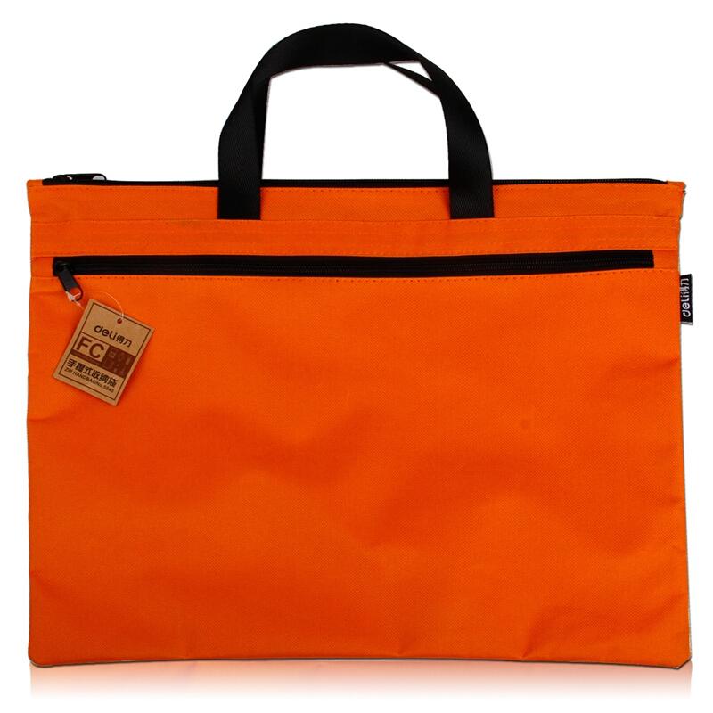 得力(deli) 5840 帆布手提袋文件袋档案袋公文包公文袋A4风琴包 橙色 5840