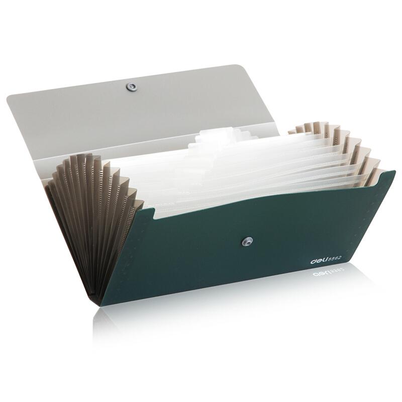 得力(deli) 票据风琴包夹 事物包文件包 多层绳扣资料夹文件整理 5562 绿色 12格