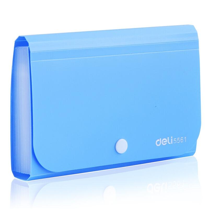 得力(deli)13格A6便携票据收纳包 按扣式风琴包 蓝色 5561