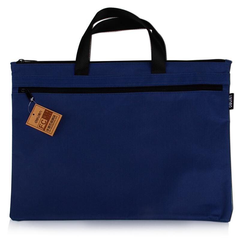 得力(deli) 5840 帆布手提袋文件袋档案袋公文包公文袋A4风琴包 蓝色 5840